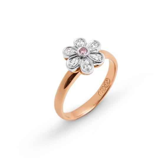 Brett's Jewellers 18ct rose gold pink and white diamond ring