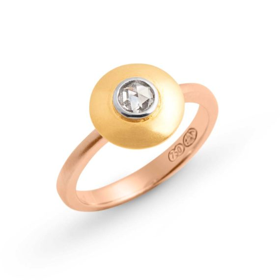 Brett's Jewellers 18ct rose and yellow gold ring with a rose cut diamond