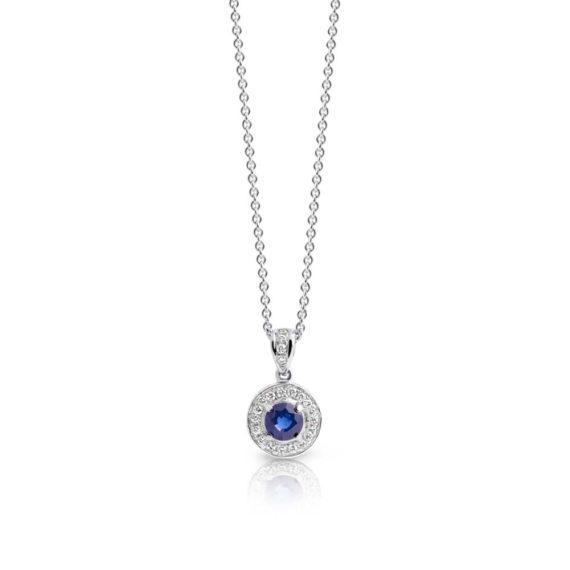 Brett's Jewellers 18ct white gold ceylon sapphire and diamond pendant on white gold chain