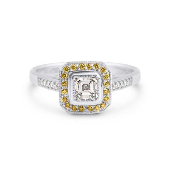 Brett's Jewellers 18ct white gold yellow and white diamond ring