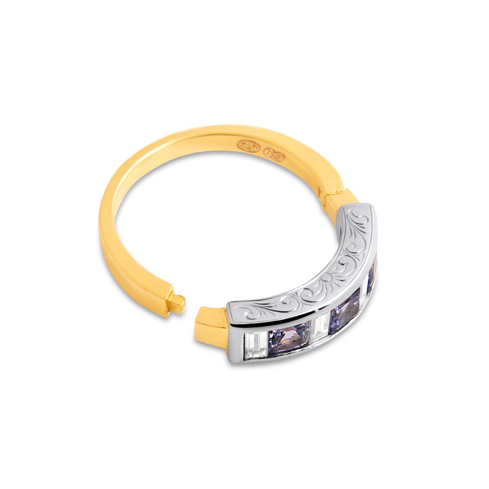 Brett's Jewellers 18ct yellow gold engraved hinged ring with tanzanites & diamonds open