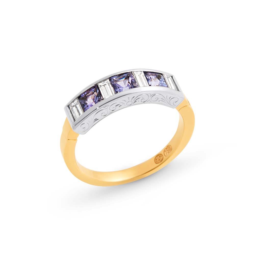 Brett's Jewellers 18ct yellow gold engraved hinged ring with tanzanites & diamonds