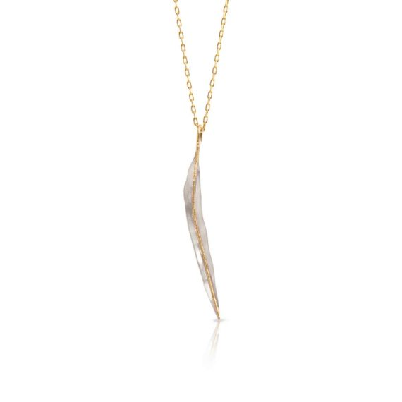 Brett's Jewellers Sterling silver & 18ct yellow gold Ceres gum leaf on yellow gold chain