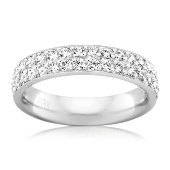 ©Peter W Beck Pty Ltd 18ct white gold wedder with double row of diamonds