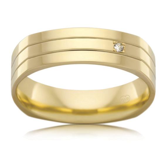 ©Peter W Beck Pty Ltd 18ct yellow gold gents diamond set wedder 2